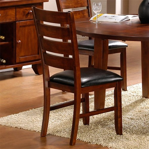 Homelegance 586 Ladder Back Side Chair with Upholstered Seat