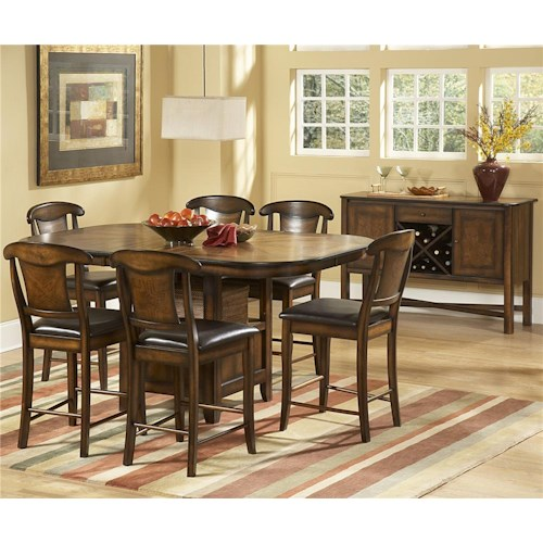 Homelegance 626 7 Piece Counter Height Set with Butterfly Leaf