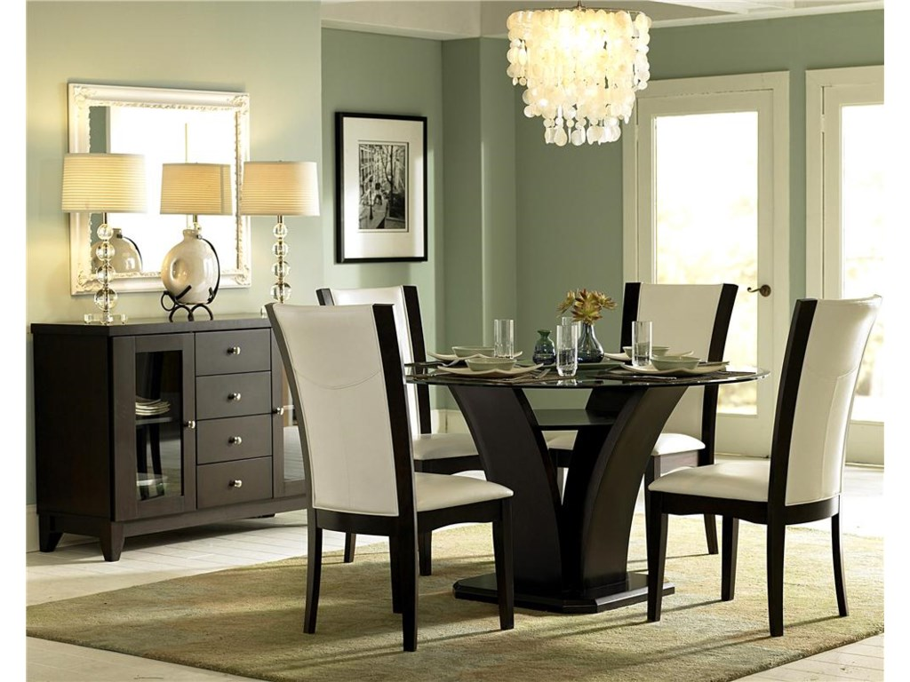 Shown With Round Glass Trestle Table and Side Chairs