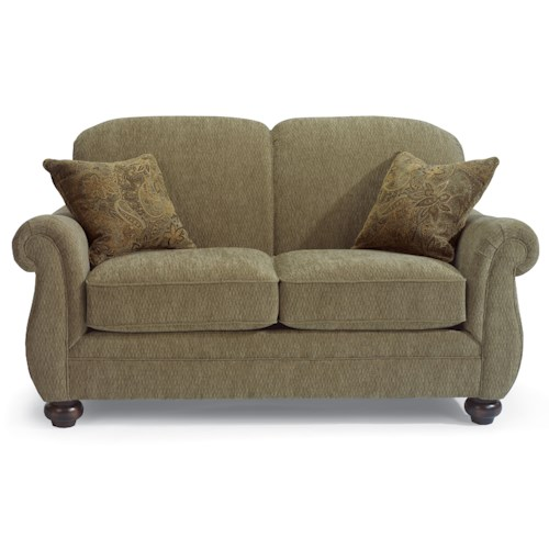 Flexsteel Winston Love Seat with Bun Feet