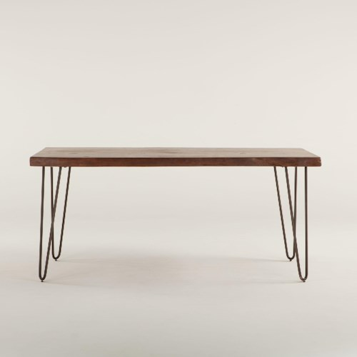 BeGlobal Vail Solid Wood Dining Bench with Metal Base