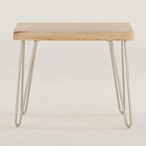 BeGlobal Vail End Table with Metal Legs