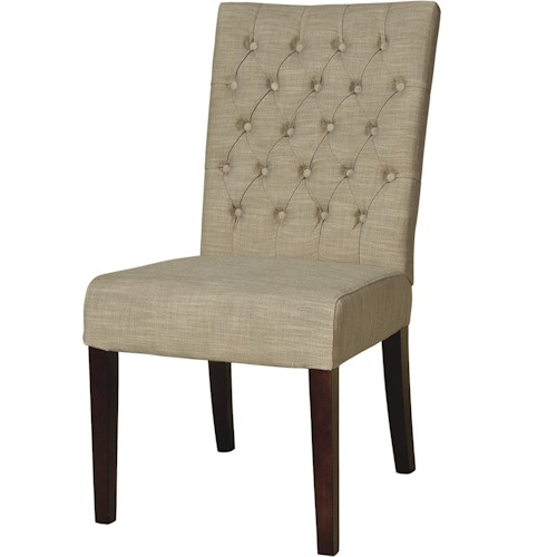 BeGlobal Meridian Dining Side Chair with Button Tufting and Tapered Legs