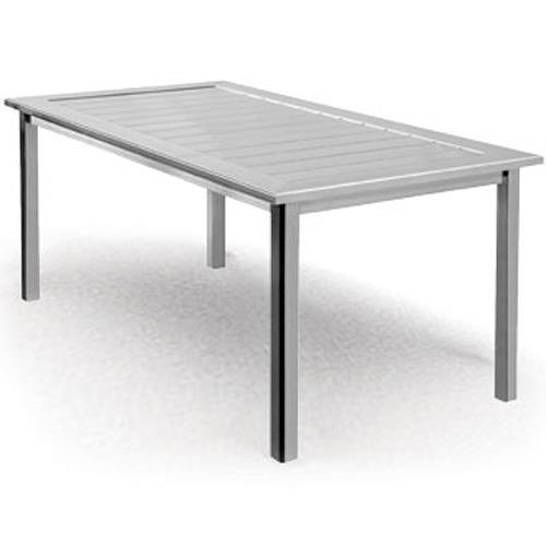 Homecrest Dockside Slat Rectangular Dining Table with Block Feet