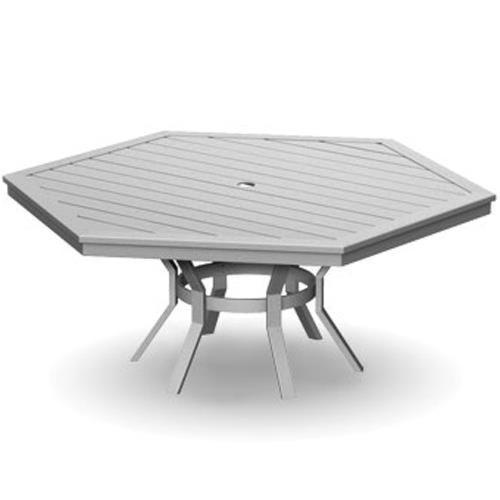 Homecrest Dockside Slat Hexagonal Dining Table with Slat Design