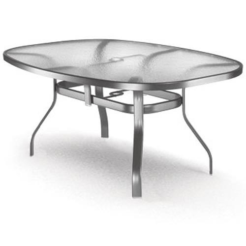 Homecrest Glass Ellipse Dining Table with Flared Legs