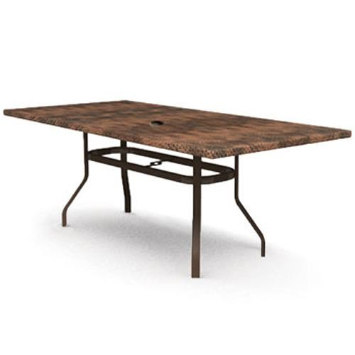 Homecrest Hammered Metal Hammered Metal Rectangular Dining Table with Umbrella Hole