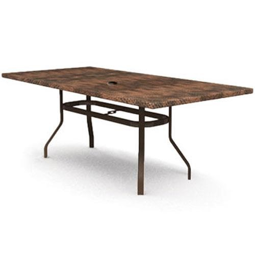 Homecrest Holly Hill Hammered Metal Rectangular Dining Table with Umbrella Hole