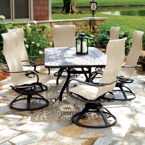 Homecrest Holly Hill Dining Set with 6 Chairs and Rectangle Table