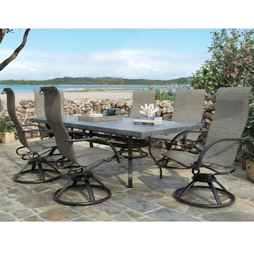 Homecrest Palisade  Dining Set with 6 Chairs and Table with Splayed Legs