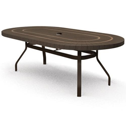 Homecrest Sorrento 44x 67 Outdoor Oval Dining Table with Umbrella Hole