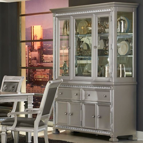 Homelegance 1958 Glam Dining Buffet and Hutch with Display Space