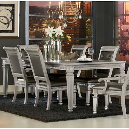 Homelegance 1958 Glam Dining Table with Intricate Inlay