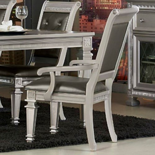Homelegance 1958 Glam Dining Arm Chair with Upholstered Seat and Seat Back