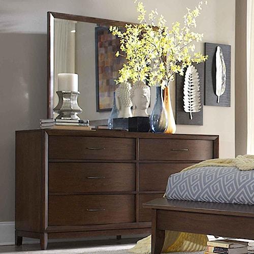Homelegance 2135 Waved-Front Dresser with Landscape Mirror