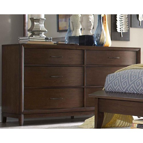 Homelegance 2135 6-Drawer Dresser with Metal Hardware & Waved Front Profile