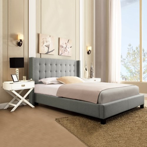 Homelegance 315B Grey Contemporary Queen Upholstered Platform Bed with Wingback Headboard