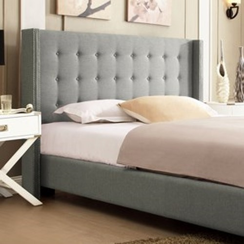 Homelegance 315B Grey Contemporary Full Upholstered Wingback Headboard with Button Tufting