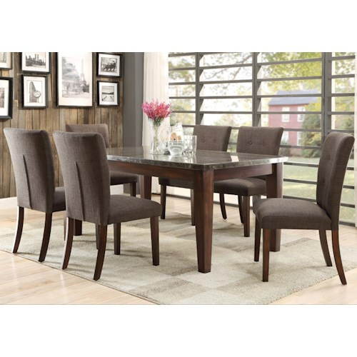 Homelegance 5281 7 Piece Dining Set with Bluestone Table Top