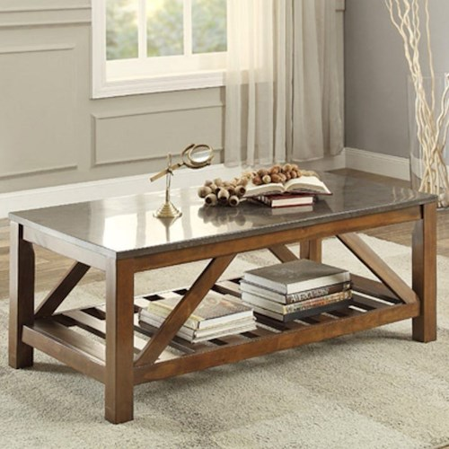 Homelegance Ashby Mission Cocktail Table with Bluestone Marble Top