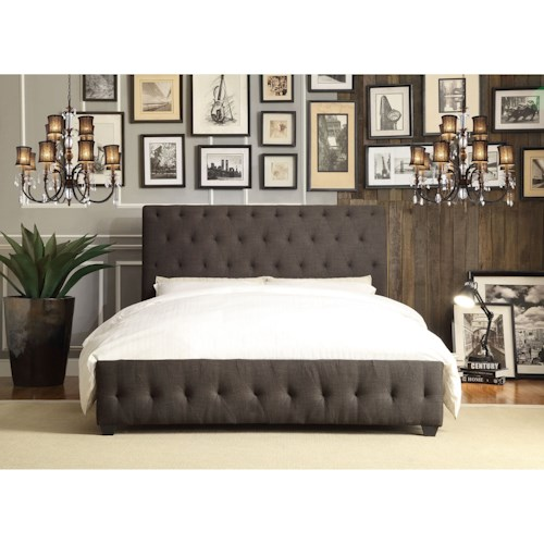 Homelegance Baldwyn Contemporary King Upholstered Platform Bed with Tufting