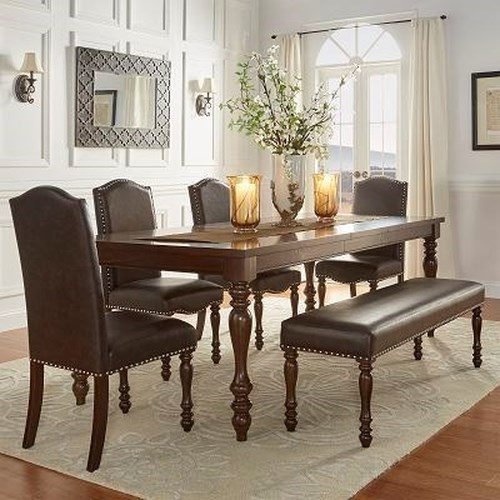 Homelegance Benwick Traditional Dining Table and Chair Set with Bench