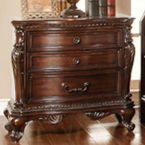 Homelegance Bonaventure - 1935 Traditional 3-Drawer Nightstand with Egg and Dart Molding