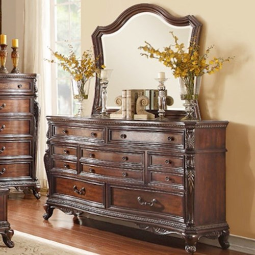 Homelegance Bonaventure - 1935 Traditional 7-Drawer Dresser and Mirror with Elegant Wood Molding