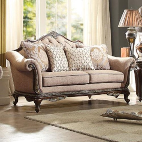Homelegance Bonaventure Loveseat with Tufted Back