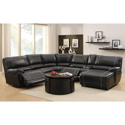 Homelegance Cale Reclining Sectional with Console and Chaise