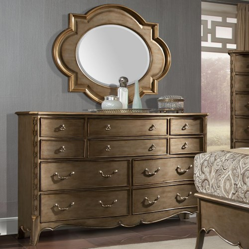 Homelegance Chambord Dresser and Quatrefoil Mirror Set