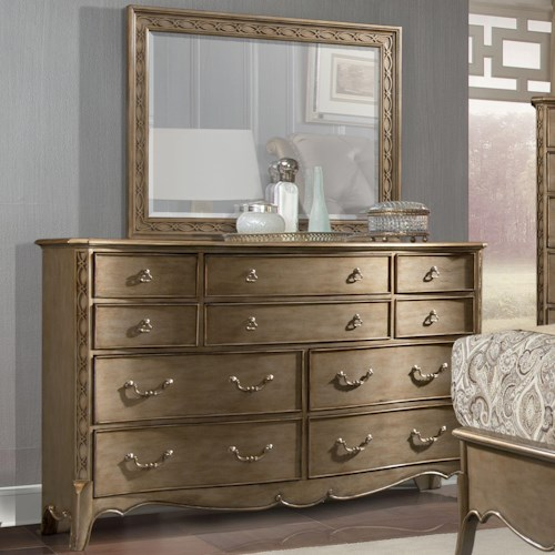 Homelegance Chambord Dresser and Mirror Set with Landscape Mirror