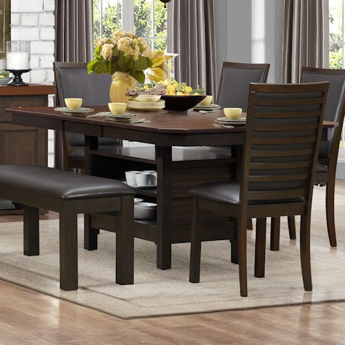 Homelegance Corliss Pedestal Dining Table with Storage