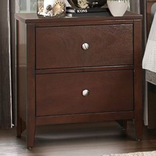 Homelegance Cullen Contemporary 2-Drawer Nightstand with Metal Glides