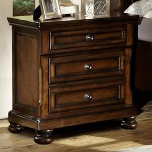 Homelegance Cumberland  Transitional 3 Drawer Nightstand with Hidden Storage