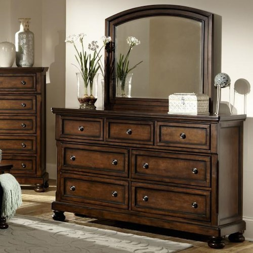 Homelegance Cumberland  Transitional 7 Drawer Dresser and Framed Mirror