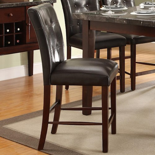 Homelegance Decatur Upholstered Counter Height Chair with Tufted Seat Back