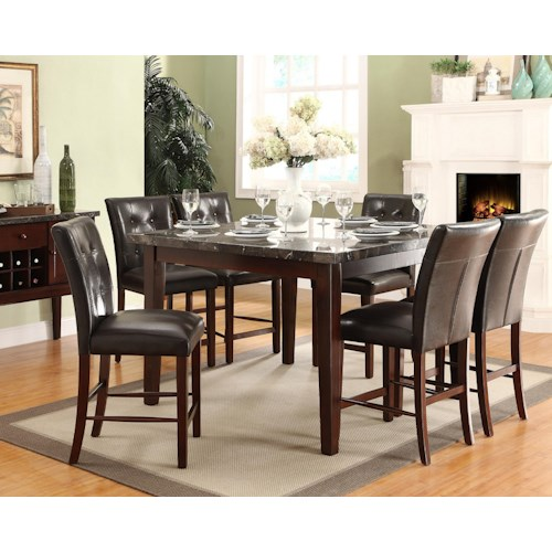 Homelegance Decatur 7 Piece Counter Height Set with Marble Tabletop and Upholstered Chairs