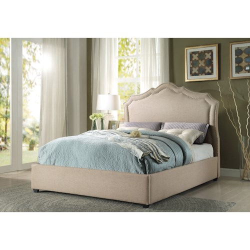Homelegance Delphine Transitional King Platform Bed with Nailhead Trim Headboard