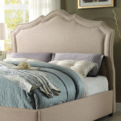 Homelegance Delphine Transitional King Upholstered Headboard with Nailhead Trim
