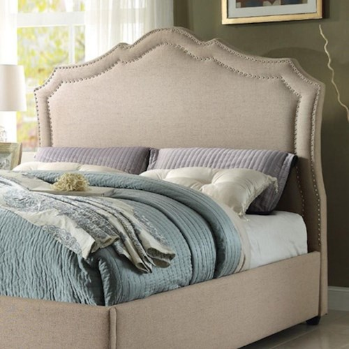 Homelegance Delphine Transitional Queen Upholstered Headboard with Nailhead Trim