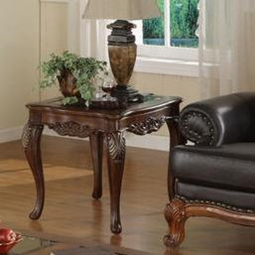 Homelegance Ella Martin Acanthus Leaf End Table with Glass Insert Top