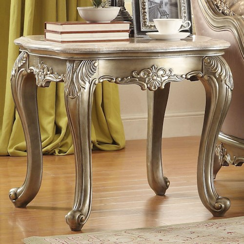 Homelegance Fiorella End Table with Marble Top