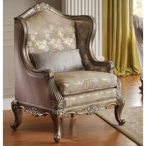 Homelegance Fiorella Accent Wing Chair with Exposed Wood Arms