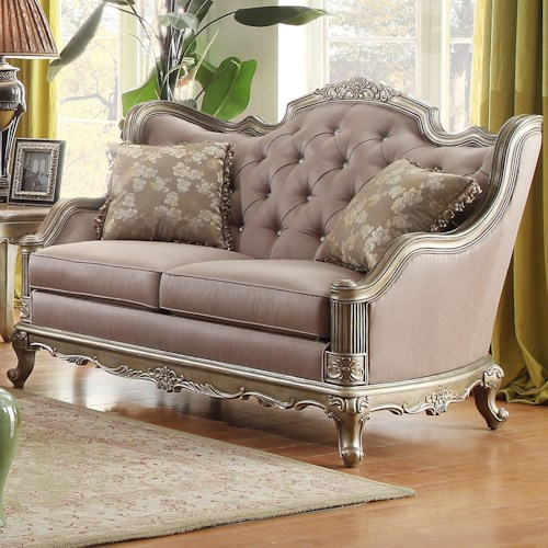 Homelegance Fiorella Love Seat with Jewel Tufting