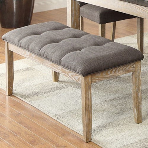 Homelegance Huron Contemporary Upholstered Dining Bench with Button Tufting