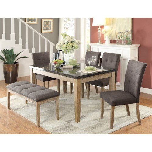 Homelegance Huron Contemporary Table and Chair Set with Bench with Button Tufting