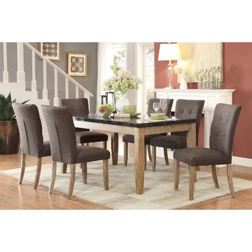 Homelegance Huron Contemporary Table and Chair Set with Button Tufted Seats