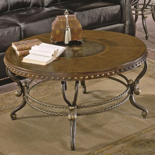 Homelegance Jenkins Traditional Round Shapely Cocktail Table with Etched Center Motif