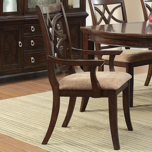 Vendor 2258 Keegan Arm Chair with Overlapping Seat Back Design